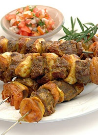 Lamb sosaties - lamb kebabs - marinated in a curry sauce and braaied (BBQed)