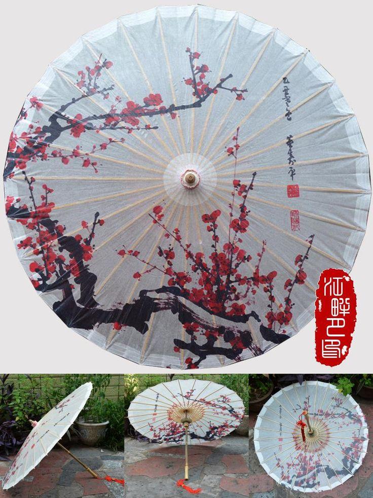 [Visit to Buy] Red Plum Blossom Chinese Handmade Oil Paper Umbrella Sunshade Parasol Decoration Gift Dance Umbrella #Advertisement