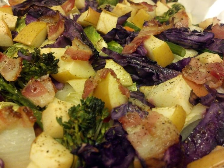 Vintage Food Nightmare: Desperation Roast: Brussels, carrots, onion, cabbage, broccolini, apple, and bacon - http://vintagefoodnightmare.blogspot.com/2014/04/desperation-roast-brussels-carrots.html