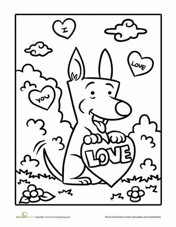 Worksheets: Valentine Dog Coloring Page