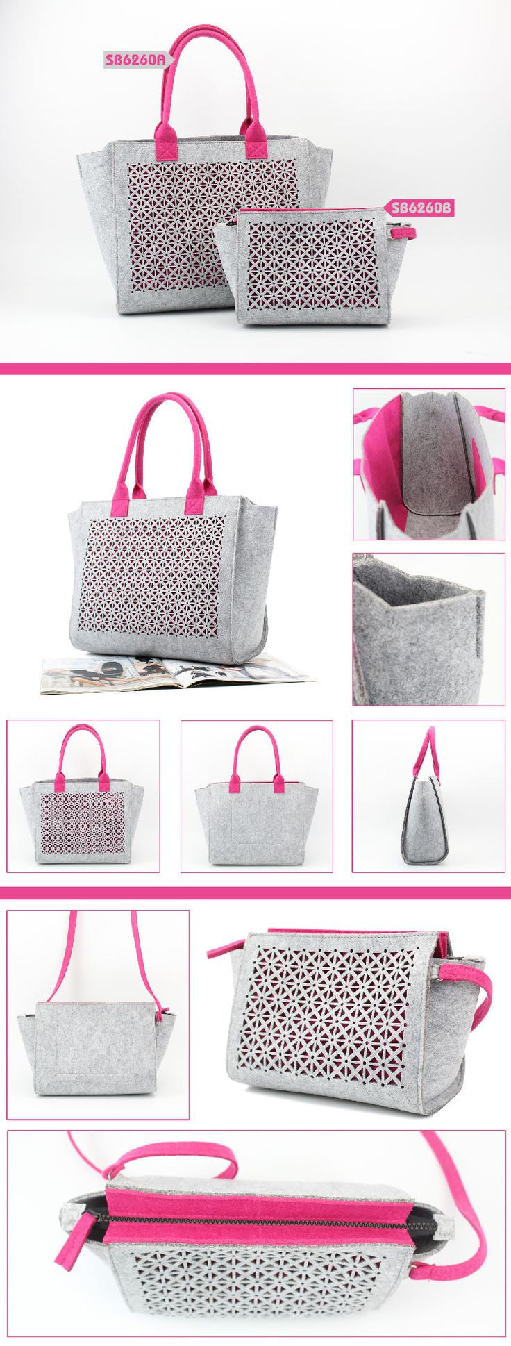 Fashion Hollow Felt Tote Bag  Specifications:  size: 34*15*29cm material: polyester felt color: same as picture, other colors are available fashion hollow design your customized design is welcome www.ideagroupigm.com