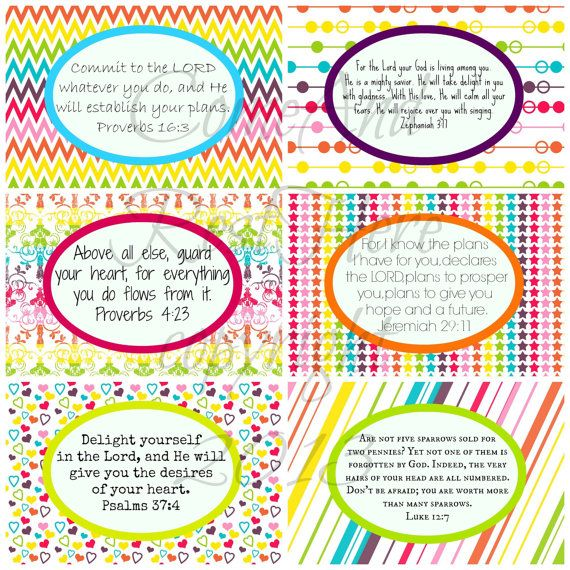 Printable Rainbow Scripture Cards for Girls by ComeAndRestHere