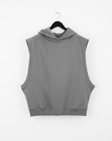 COLLEGE HOODED VEST/ BOXY HOODED VEST IN LOOPBACK COTTON 195€