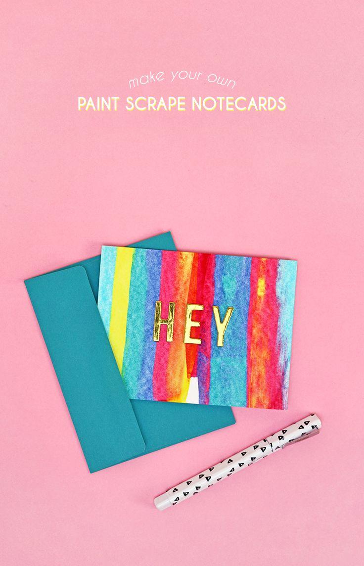 DIY art project idea - colorful paint scrape notecards