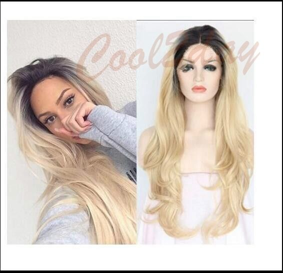 Women Ombre Black Root Blonde Wig Heat Resistant Synthetic Hair Natural Wavy Wig