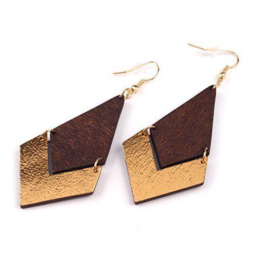 """coole Holz - Ohrhänger """"Geometrisch"""" von SCHMUCKZUCKER große lange Ohrringe gold (braun), http://www.amazon.de/dp/B015G9CSAY/ref=cm_sw_r_pi_awdl_TSgawb1QB27H2"""