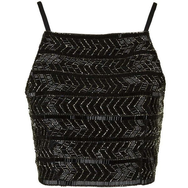 TOPSHOP Embellished Bralet ($70) ❤ liked on Polyvore featuring tops, crop tops, shirts, tank tops, black, chevron shirt, embroidery shirts, crop tank, black crop tank top and party shirts
