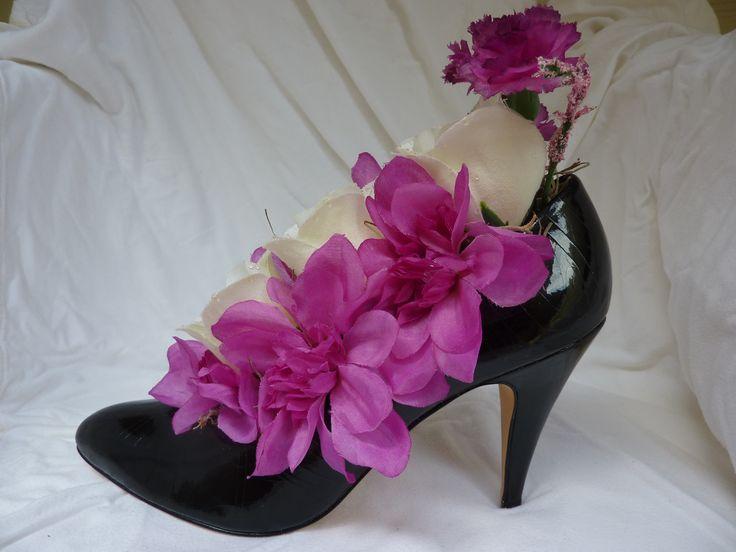 Shades Of Pink Purple In Black High Heel Faux Flower