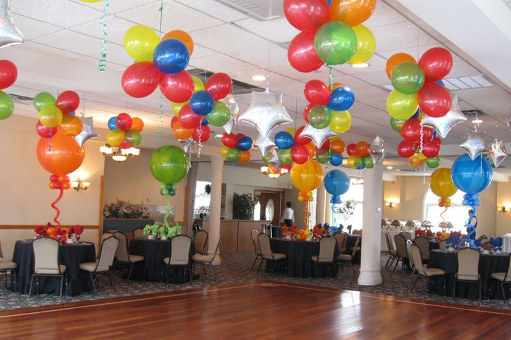Colorful balloon clusters over dance floor