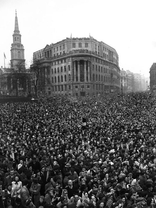 A general view of the dense crowd massed in Trafalgar Square, London on Nov. 20, 1947, before the first of the royal wedding processions was due to pass en route to Westminster Abbey as Princess Elizabeth and the Duke of Edinburgh marry. South Africa House and St. Martin-in-the-fields can be seen in the background. (AP Photo)