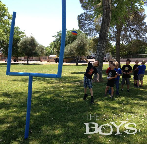 Goal post made from PVC and Pool Noodles from TheJoysofBoys.com.  Perfect for a Sports birthday party.  #football #goalpost #poolnoodle