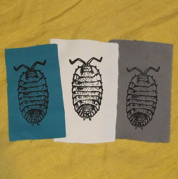 Pill Bug Patch Black on Turqoise White or Grey by phoenixcompost, $3.00