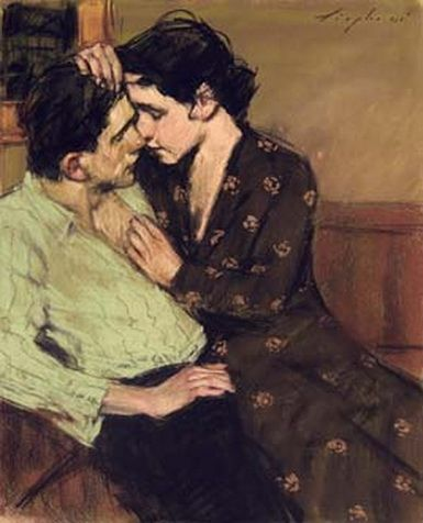 "MALCOLM T. LIEPKE ""COUPLE IN LOVE"" 16 1/2 X 13 1/2 INCHES 2001"