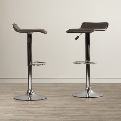 Charlton Home Apple Valley Adjustable Height Swivel Bar Stool Upholstery: Black
