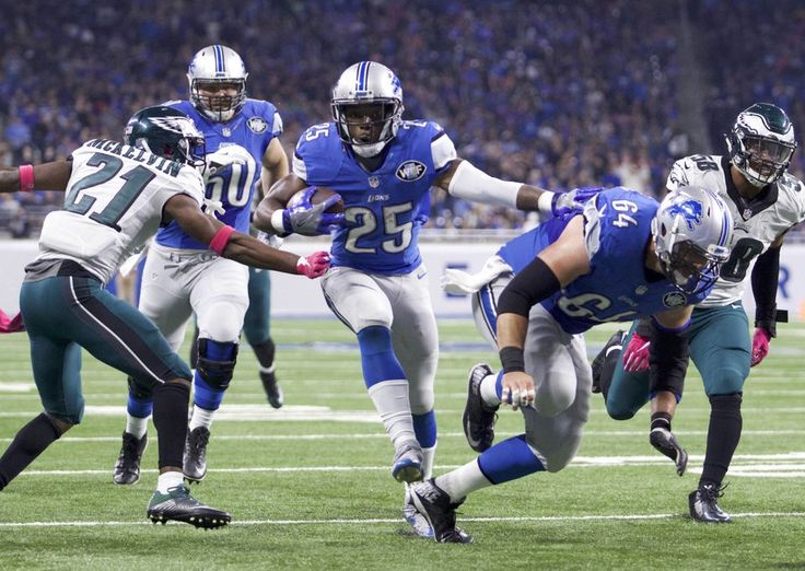 Eagles vs. Lions:  24-23, Lions, October 9, 2016  -         Detroit Lions running back Theo Riddick (25) moves in for a touchdown run against Philadelphia Eagles defensive back Leodis McKelvin (21) during the first quarter at Ford Field.(Raj Mehta-USA TODAY Sports)