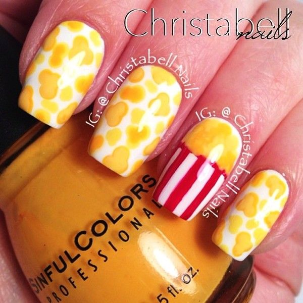 Movie Night With Popcorn Nail Arts! - http://www.stylishboard.com/movie-night-with-popcorn-nail-arts/