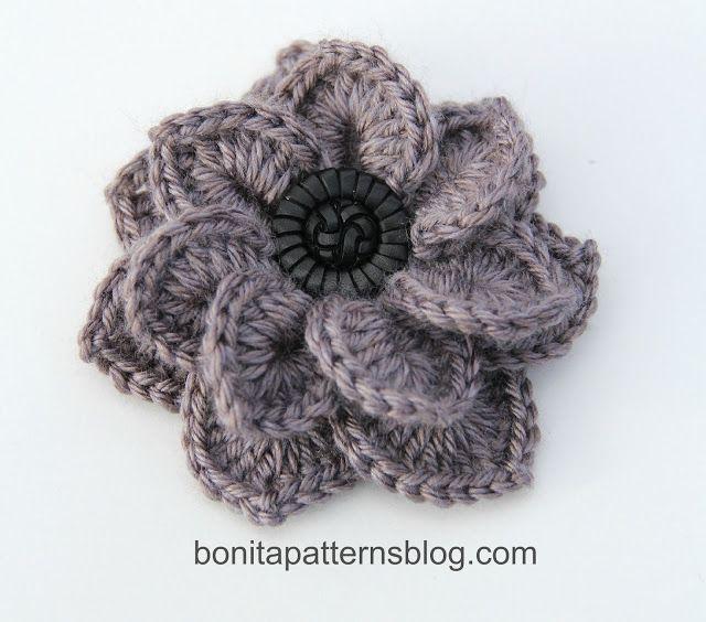 Crocodile Stitch Free Crochet Flower Pattern