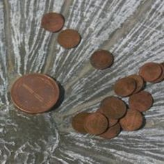 Pennies to keep the bird bath clean-how smart. The copper in pre1982 pennies keeps the algae from growing