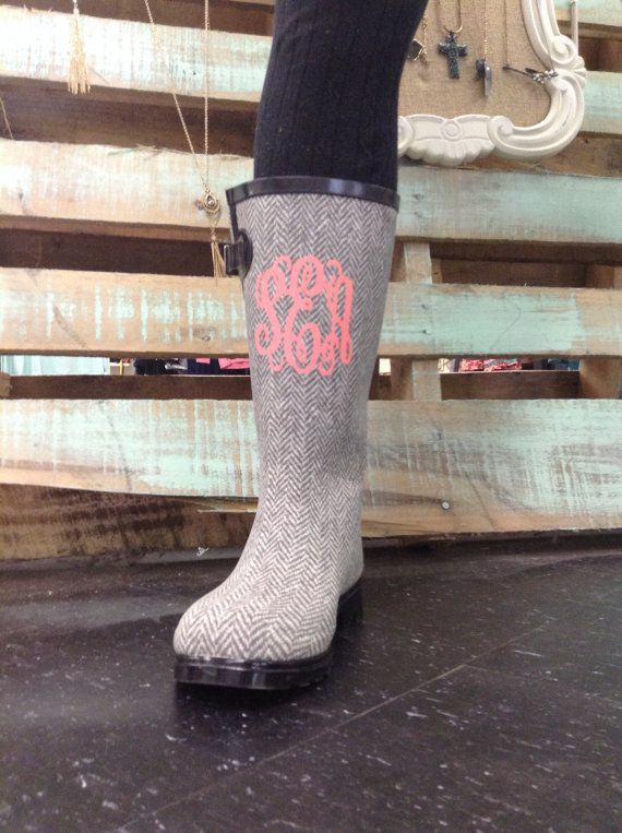 Monogrammed boots monogrammed rain boots by stacysplace004 on Etsy