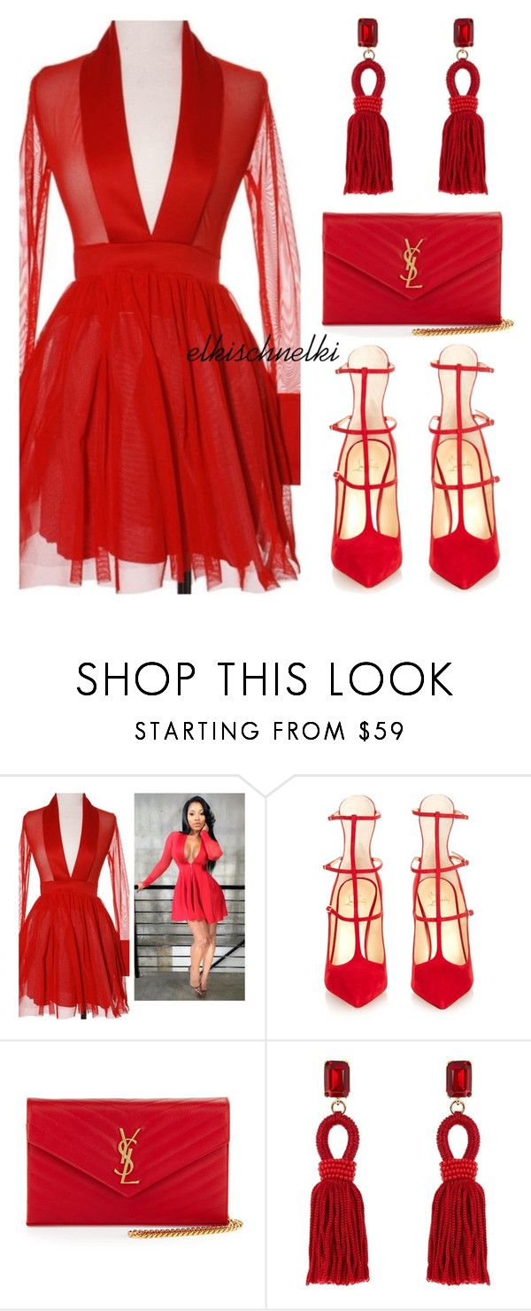 """""""Unbenannt #1040"""" by elkischnelki ❤ liked on Polyvore featuring Christian Louboutin, Yves Saint Laurent and Oscar de la Renta"""