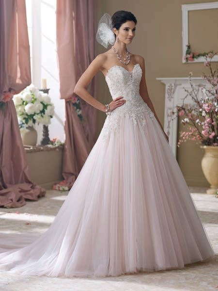 1055 best  Wedding dresses images on Pinterest   Homecoming dresses     David Tutera Strapless hand beaded embroidered metallic lace  tulle    sequin over satin ball gown wedding dress  deep sweetheart neckline  features illusion