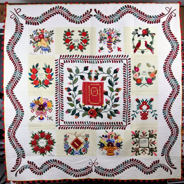 """Album In Honor of Mother"" by Elly Sienkiewicz.  Baltimore Album Quilt exhibit 