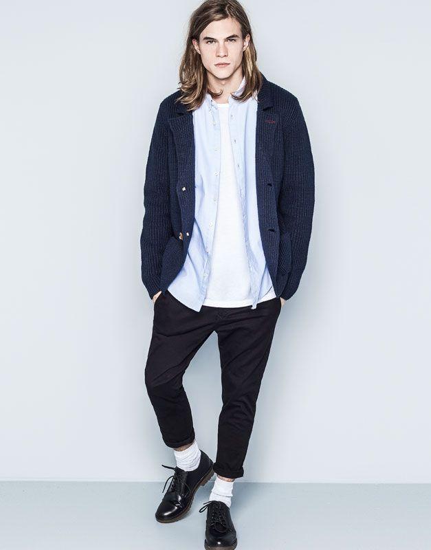 Pull&Bear - uomo - blue soho - giacca piqué - blu marino - 09585513-I2014