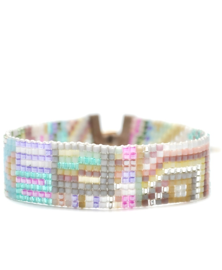 In pretty pastels, this beaded bracelet from Julie Rofman conjures a summery Scandinavian countryside.