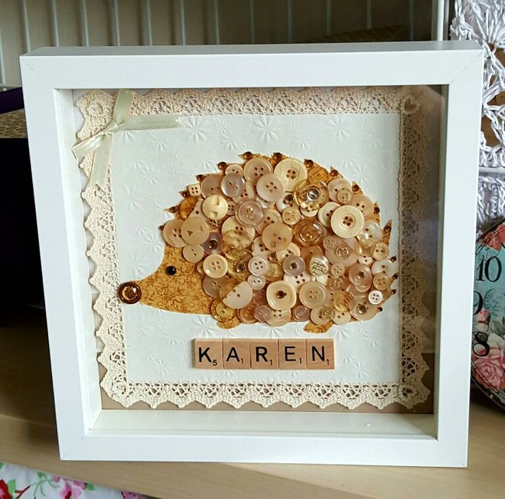 Hedgehog button art. I made this one for my friends leaving pressie, she is hedgehog mad