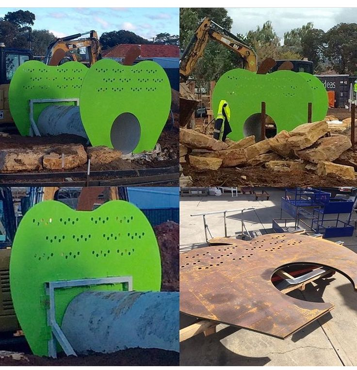 Just completed fabrication of the large APPLE playground equipment for City of Marion - Jervois Street Playground. Water jet cut 10mm thick mild steel, metal bead blasted, primed and 2 pack painted + chunky galvanised support frames. The kids will love running over and crawling through this piece.