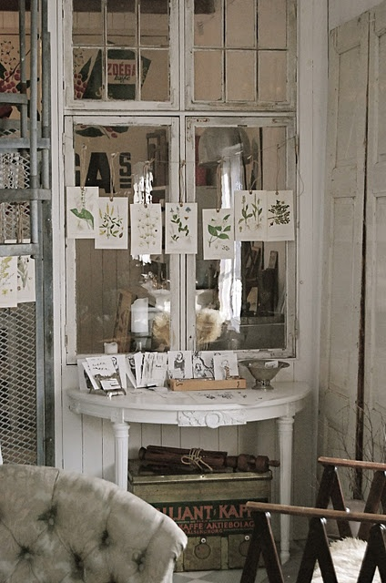 string botanical prints with twine and clothes pins