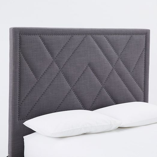Patterned Nailhead Upholstered Headboard - King, Linen Weave, Natural | west elm