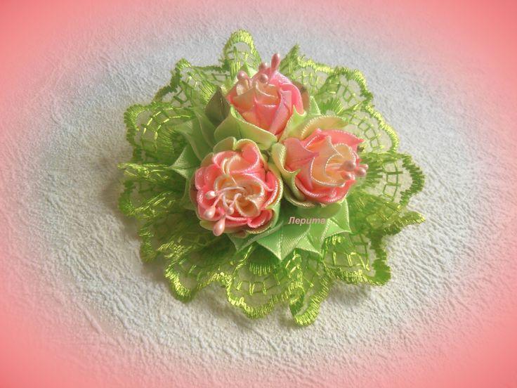Цветы из лент, канзаши, МК
