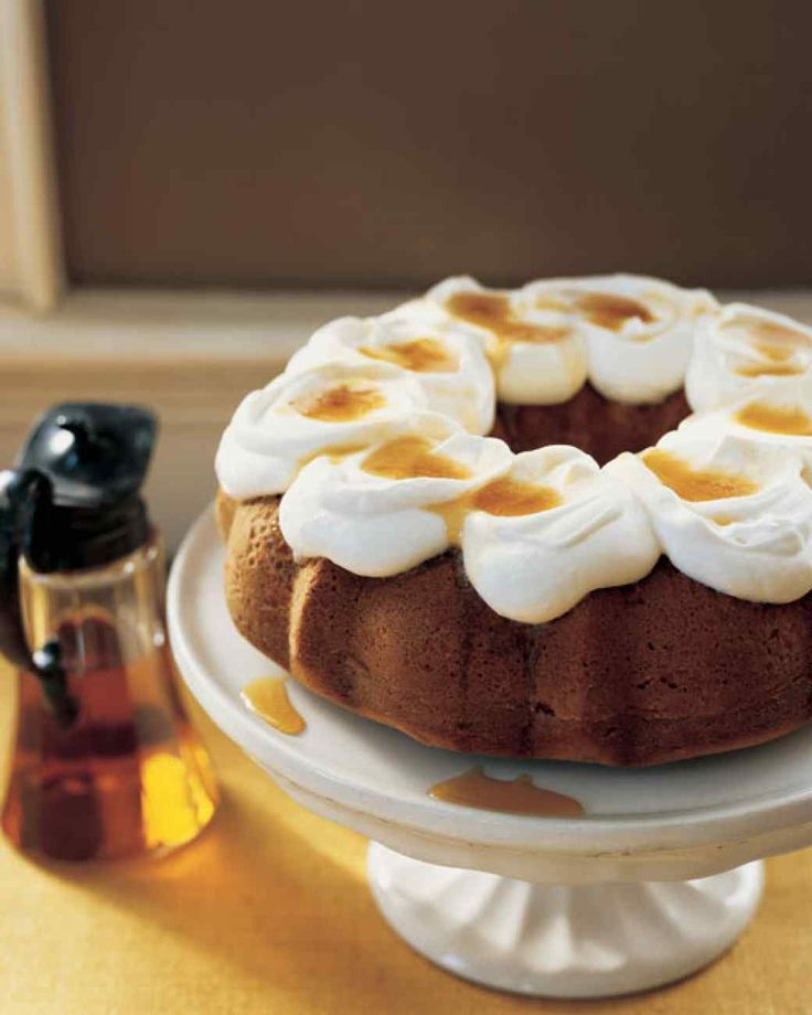 Maple Bundt Cake. This cake can be baked the day before, covered loosely with foil, and kept at room temperature. Make the whipped cream topping just before serving.