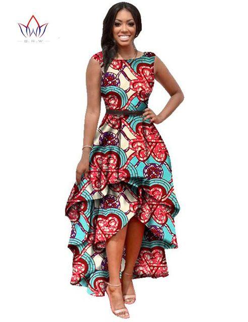 2016 Longues Dessses Femmes Mode Robe Maxi Marque Africaine Bazin Robes pour Femmes Dashiki Ankara En Cascade RuffleWY447