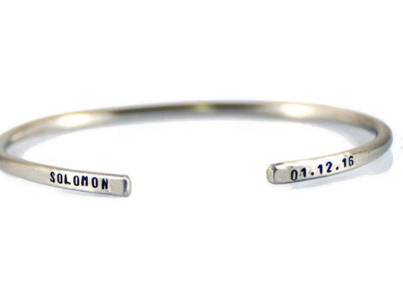 Custom Hand Stamped Silver Cuff Bracelet.