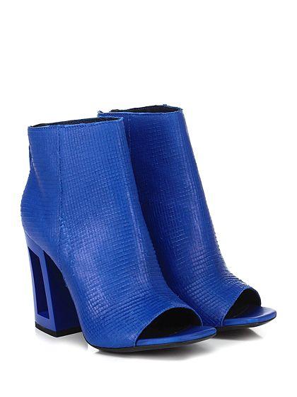 VIC MATIE - Tronchetto - Donna - Tronchetto open toe in pelle lavorata laserata con zip su retro e suola in cuoio. Tacco 100. - BLUETTE - € 295.00