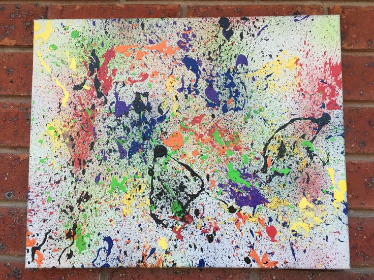Made this with the children for a fun night. Got paint and straws. Simply place paint on end of straw and blow on the other end to make it splatter. Kids love it!
