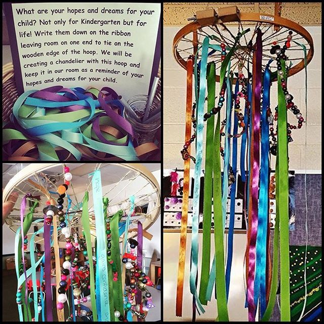 Families made this at the the beginning of the year last year! Our Hopes and Dreams Chandelier!
