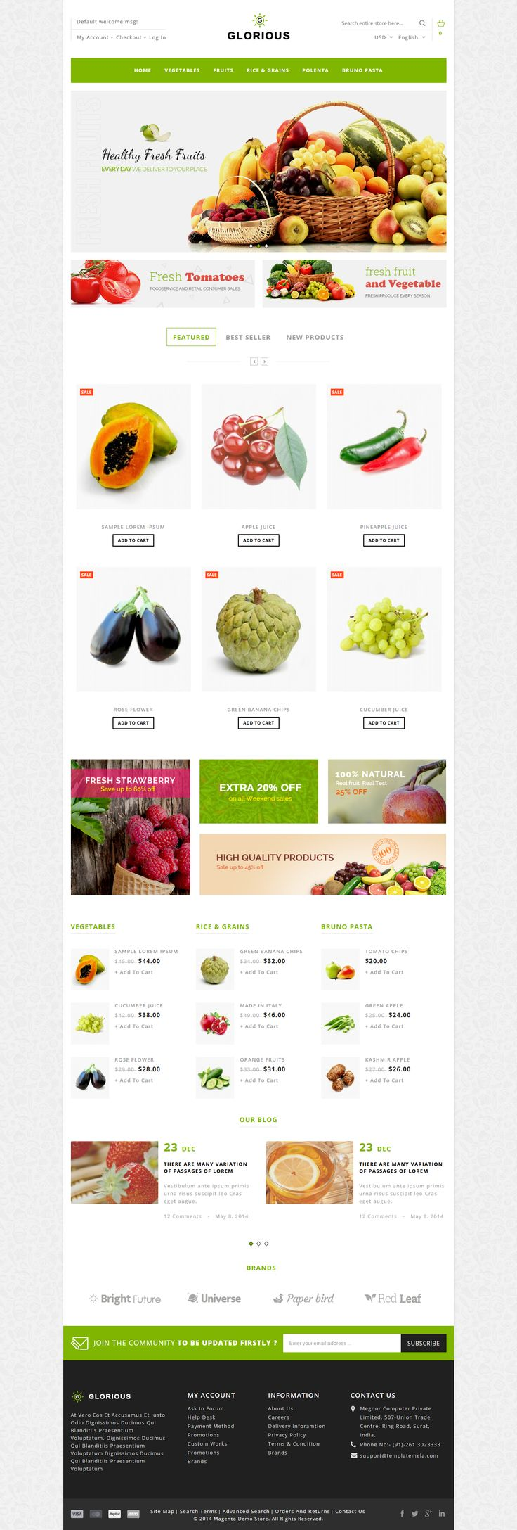Glorious #Magento Responsive Theme is specially designed for fashion design, electronics, mobile, #foods, jewellery, tools, auto & spare parts and multi purpose stores. #website #vegetable #fruits