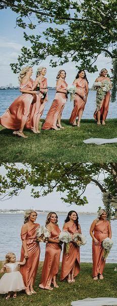 Orange One Shoulder Front Slit Mismatched Bridesmaid Dresses , AB4127