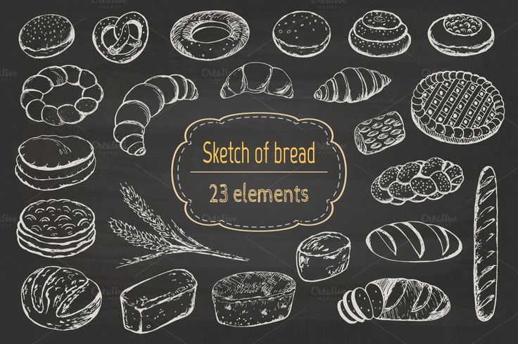 Sketch of bread and pastries. by Natali_art on @creativemarket