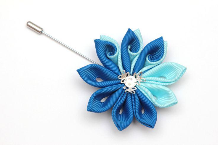 Broche de flores de tela Kanzashi. Prendedor de flor por FlosMollis