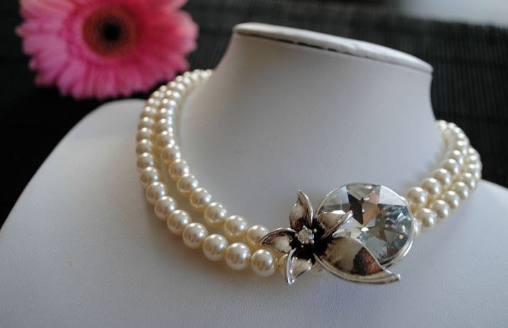 2 strand Swarovski Pearl Necklace with Side Accent piece.
