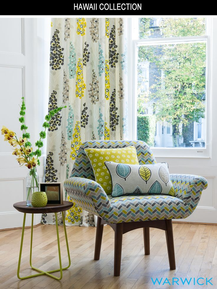 Warwick Hawaii Collection  Hawaii is a lively new print collection featuring a mix of modern, retro botanicals and geometric coordinates.    Available in bright paradise inspired colour palettes of lagoon, spice and summer, each design coordinates effortlessly to give any room a playful spontaneity.