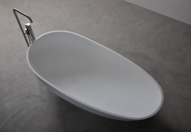 Description: Freestanding  bathtub  Material: Solid Surface white matt  Code:100 6510  Model: SolidLEAF  Size:180 x 82 x 54 (h ) cm