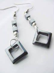 Hematite Gem Dangle Earrings Square Hematite by CherylsHealingGems, $15.00