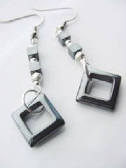 Hematite Gem Dangle Earrings Square Hematite by CherylsHealingGems, $15.00