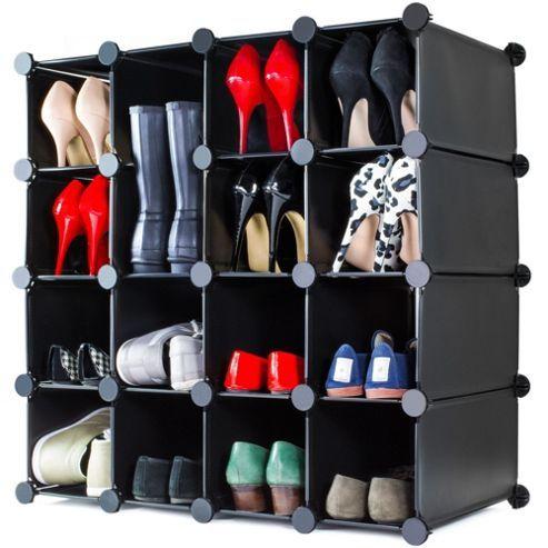 Andrew James Shoe Organiser - 16 Hole Shoe Rack in Black