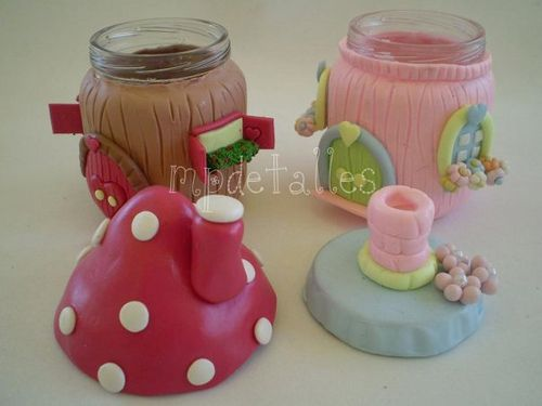 Great way to make fairy houses from jars and clay